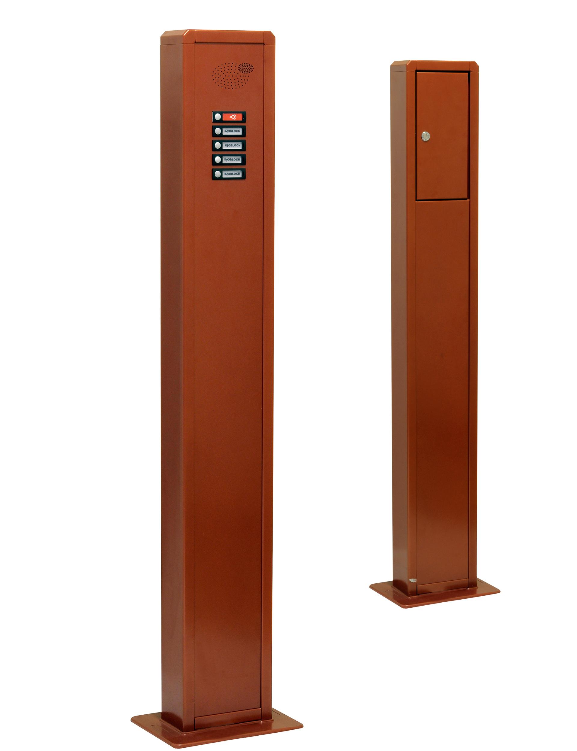 Kommunikationssäule KS5000, bodenstehend, zum Aufschrauben, Aluminium braun pulverbeschichtet, beispielhaft bestücktes Funktionsfeld
