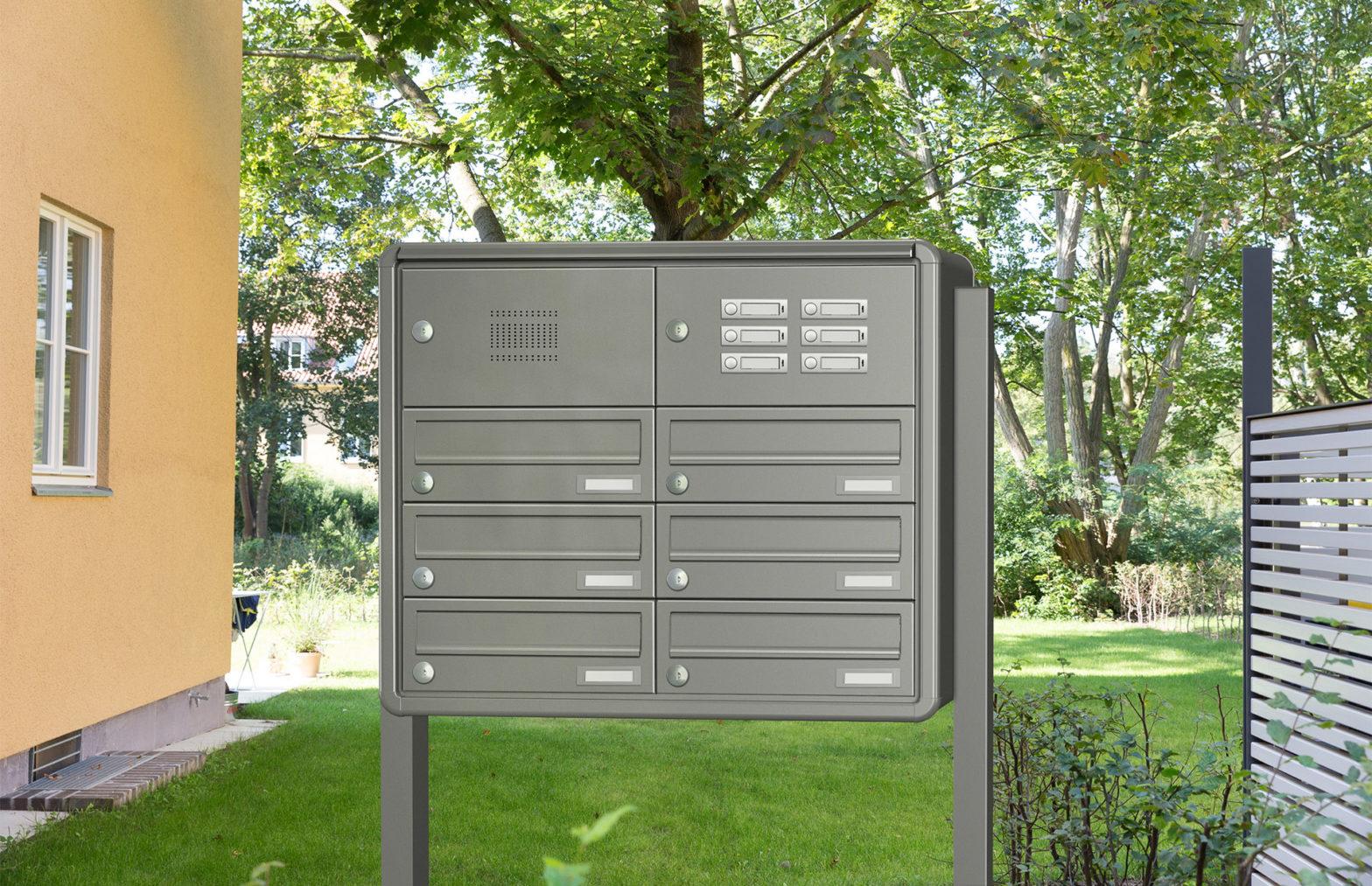KNOBLOCH EXPRESS BOX - sechsteilige freistehende Briefkastenanlage mit horizontalen Kästen mit Funktionskasten und Verkleidung RI220 (FS61-220)