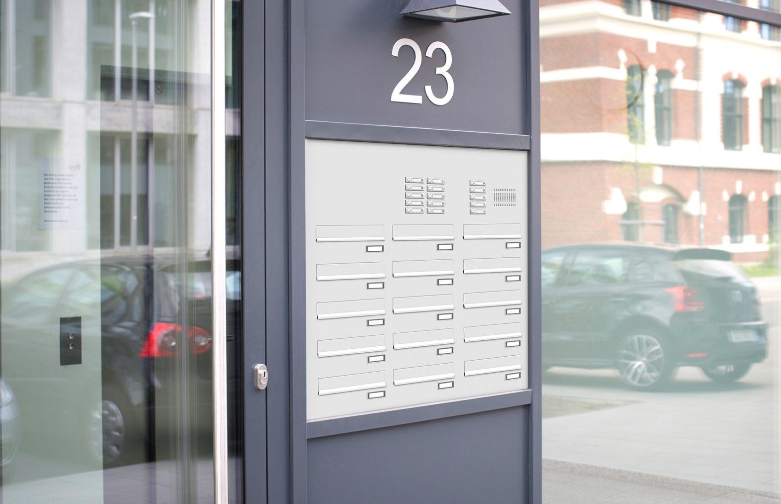 KNOBLOCH EXPRESS BOX - 15-teilige Türseitenteil-Briefkastenanlage mit Funktionskasten (TS151-S)