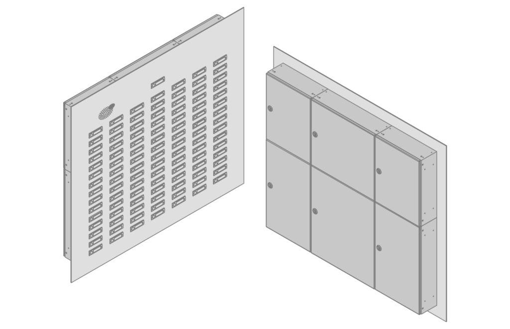 Klingeltableau links: Vorderansicht; rechts: Rückansicht